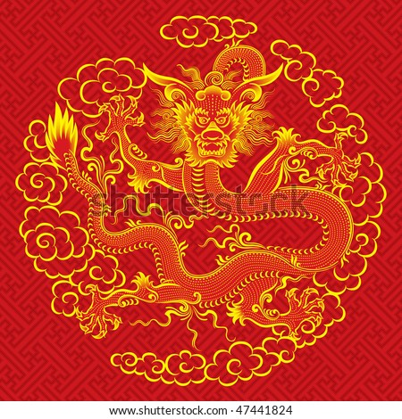 Red chinese dragon - stock vector