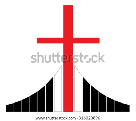 Red christian cross silhouette standing on Golgotha vector illustration, symbol of a Christian church - stock vector