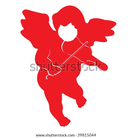 Red christmas angel vector isolated on white - stock vector