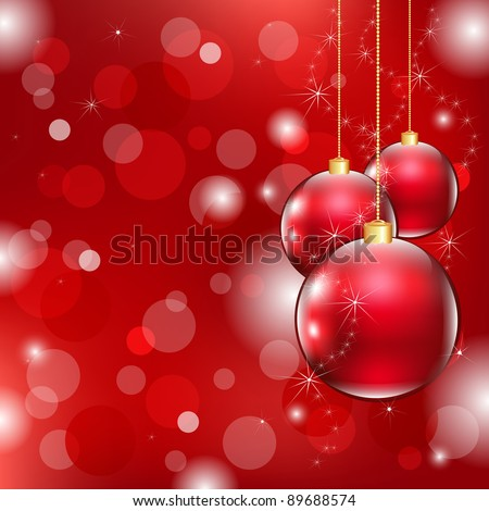Red Christmas Background With Christmas Ball, Vector Illustration - stock vector