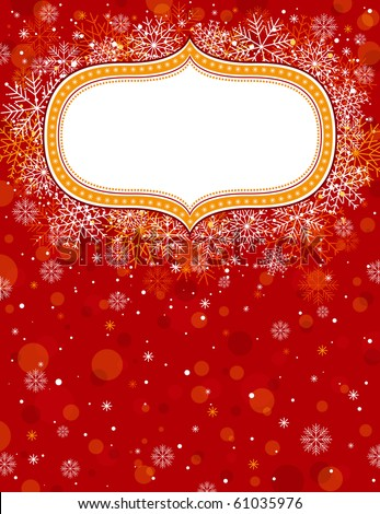 red christmas background with christmas elements,  vector illustration - stock vector