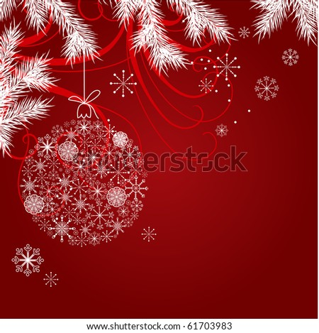 Red christmas background with hanging ball