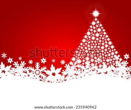 Red christmas background with shiny Christmas tree  - stock vector