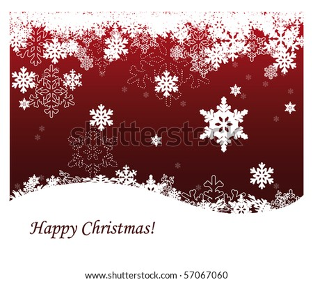 Red christmas background with snowflakes - stock vector