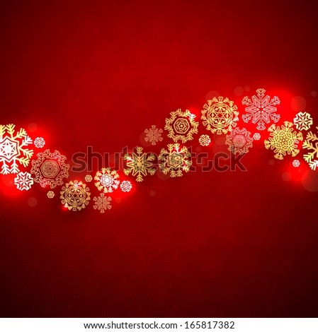 Red Christmas background with snowflakes and space for text - stock vector