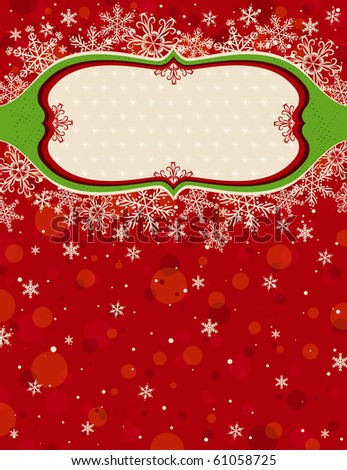 red christmas background with snowflakes,  vector illustration - stock vector