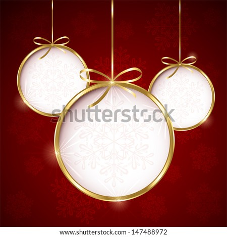 Red Christmas background with three bauble, illustration.  - stock vector