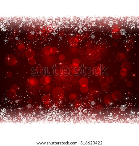 Red Christmas background with white snowflakes, illustration. - stock vector