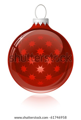 Red christmas ball. Christmas bauble with reflection - stock vector