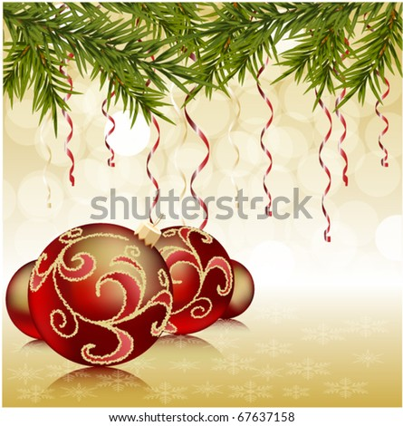 red christmas ball on green new year tree, Christmas background - stock vector