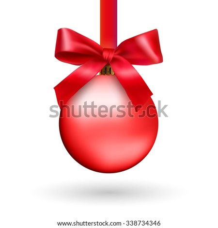 Red Christmas ball with ribbon and a bow, isolated on white background. Vector illustration.