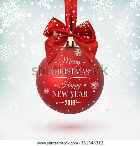 Red Christmas ball with ribbon and a bow, on winter background with snow and snowflakes. Merry Christmas and Happy New Year. Vector illustration. - stock vector