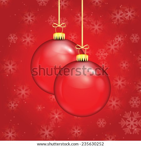 Red Christmas balls on a gold ribbon on  background of falling snowflakes - stock vector