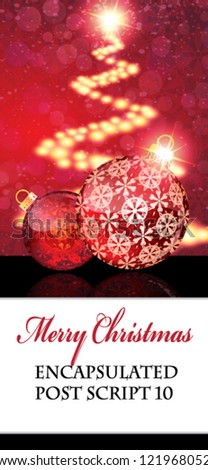 Red Christmas balls with abstract patterns on a glowing background with white place for text - stock vector