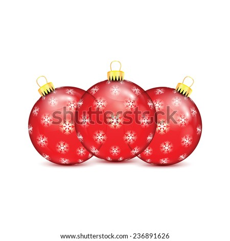 Red Christmas balls with snowflakes isolated on white background  - stock vector