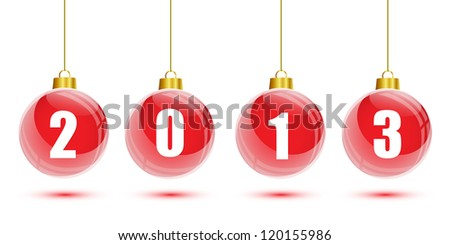 Red christmas balls with the numbers of new year 2013 - stock vector