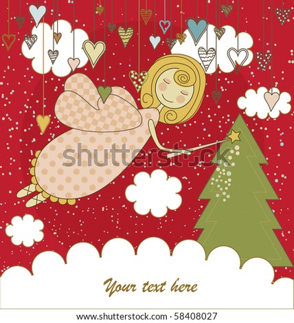 Red Christmas Card with Angel - stock vector