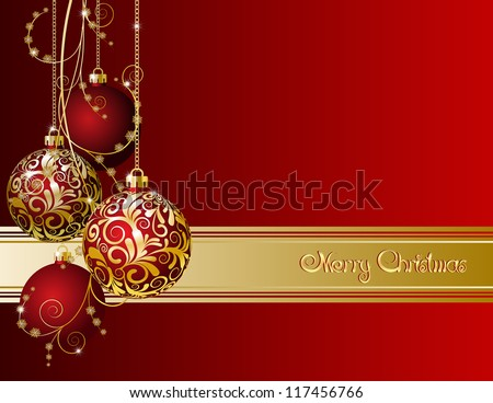 Red Christmas card with Christmas balls and snowflakes - stock vector