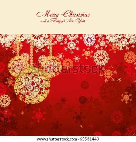 Red Christmas card with snowflakes and gold baubles, vector illustration - stock vector