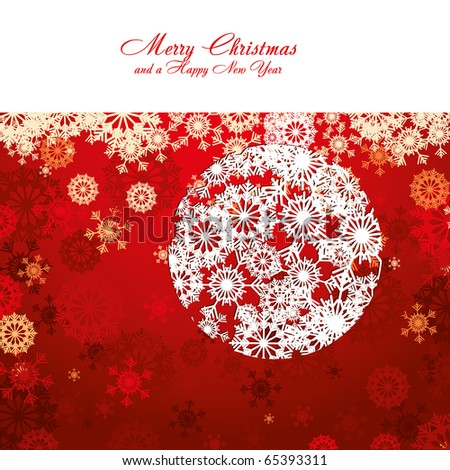 Red Christmas card with snowflakes, vector illustration - stock vector