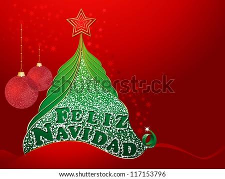 Red christmas card with tree and with Merry Christmas in Spanish- Feliz Navidad. - stock vector