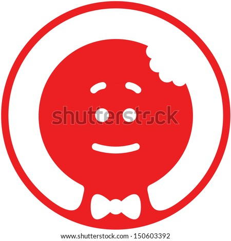 Red Christmas cookie man with a bite on its head while smiling, wearing a bow tie and posing inside a circle in a shy but nice attitude - stock vector