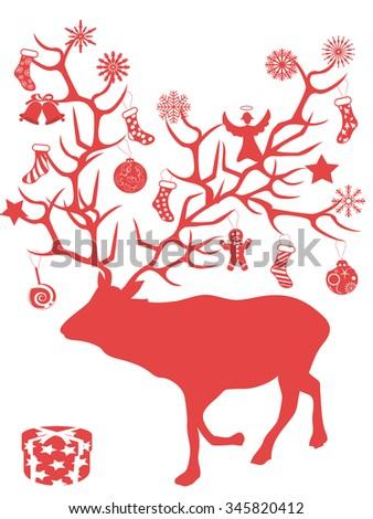 red Christmas deer tree branch antlers presents - stock vector
