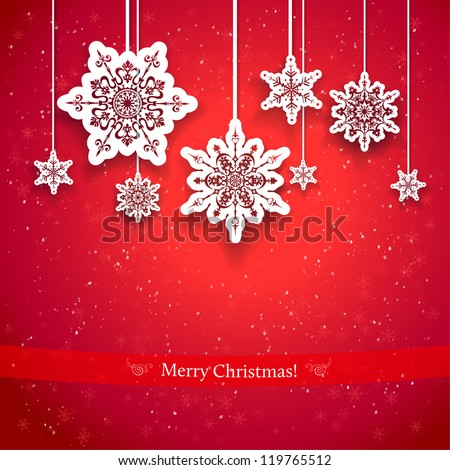Red Christmas design with decorative snowflakes - stock vector