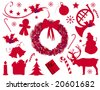 Red Christmas elements - stock vector
