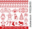 red christmas elements, santa claus, angel, snowman, rocking horse, christmas stocking, sweets - stock vector