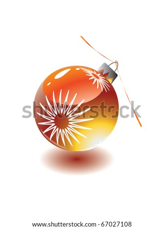 Red christmas eve toy with ribbon. - stock vector