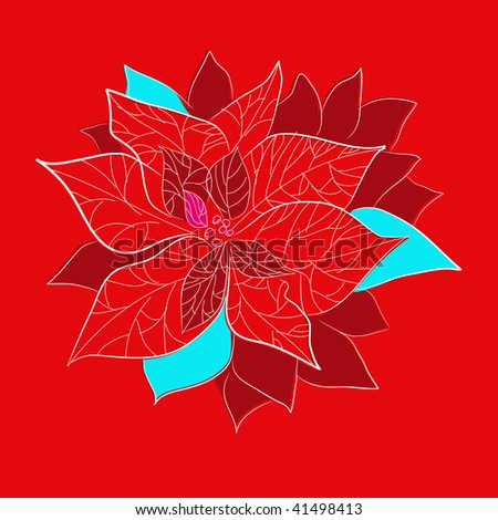 Red christmas flower with on red background - stock vector