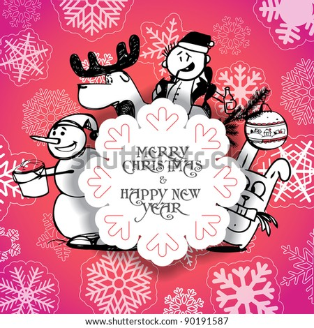 Red Christmas greeting card with Christmas persons - stock vector