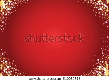 Red christmas greeting card with stars and decorations