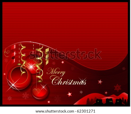 Red Christmas ornaments background