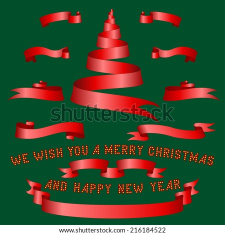 red christmas ribbons and tree on green background - stock vector