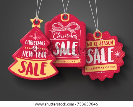 Red Christmas sale paper tags vector set with different shapes and hand drawn elements in red color hanging with discount text for christmas holiday shopping promotion. Vector illustration.