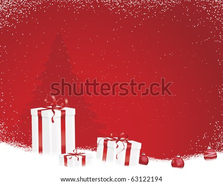 Red Christmas scene with ornaments and tree on snowy border - stock vector