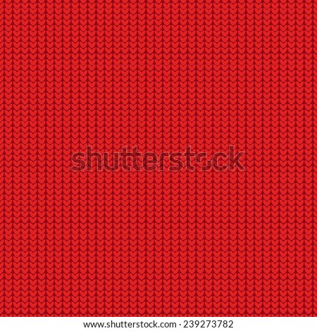 Red Christmas Seamless Knitting Pattern - stock vector