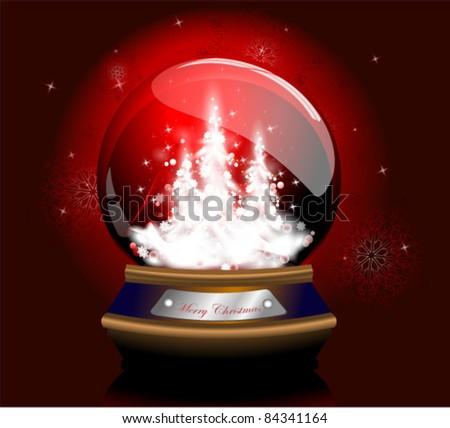 Red Christmas Snow Glob - stock vector