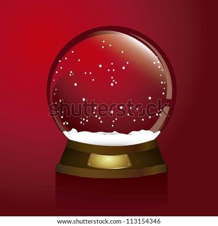 red christmas snow globe, merry christmas. vector illustration - stock vector