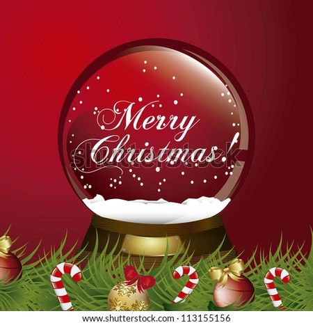 red christmas snow globe with garland. vector illustration - stock vector