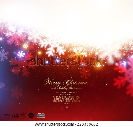Red Christmas Snowflakes Blurred Background, vector  - stock vector