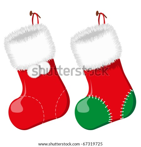 Red christmas socks. Vector illustration. EPS8 - stock vector
