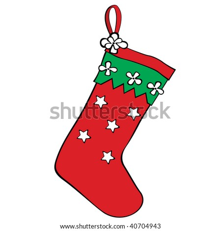 Red christmas stocking for gifts. Colorful vector illustration. - stock vector