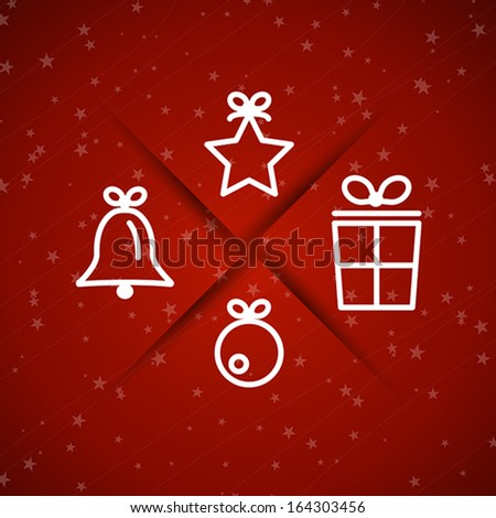 red christmas symbols with stars. christmas concept