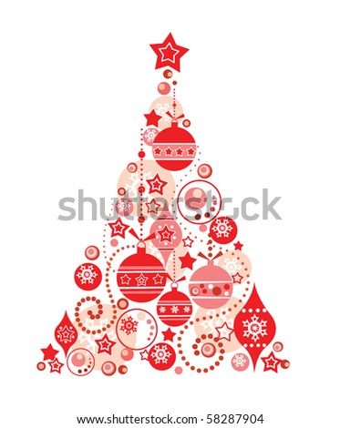 Red christmas tree - stock vector