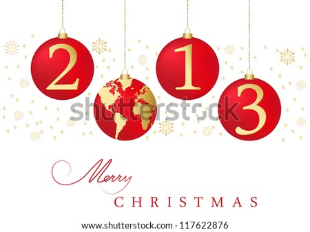 Red christmas tree balls 2013 - stock vector