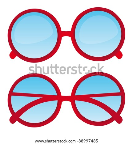 red circle nerd glasses over white background. vector