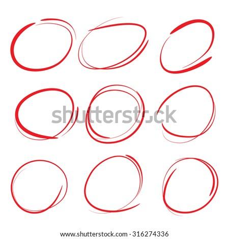 red circle set, marker elemetns - stock vector